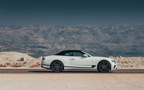 Picture white, Bentley, convertible, the soft top, 2019, Continental GT Convertible