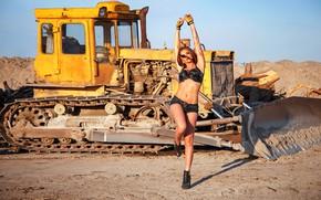 Picture girl, pose, feet, shorts, figure, tractor, bulldozer, Dmitry Pererva