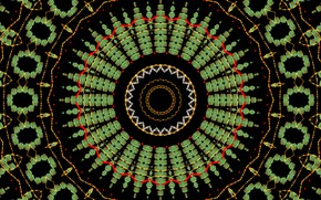 Picture pattern, round, pepper, black background, kaleidoscope