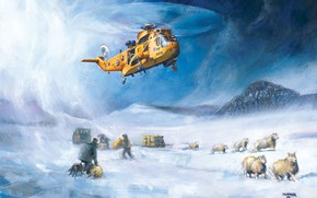 Picture snow, figure, helicopter, rescuers, RAF, Sea King, Westland