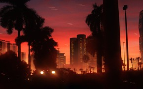 Picture Sunset, Music, Style, Palm trees, Background, 80s, Style, Neon, Illustration, 80's, Synth, Retrowave, Synthwave, New …