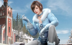 Picture winter, girl, the city, Playerunknown's Battlegrounds