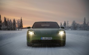 Picture snow, Porsche, green, front view, 2020, Taycan, Taycan 4S