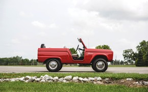 Picture red, Roadster, Ford, side view, 1966, Bronco