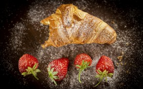 Picture berries, strawberry, cakes, powdered sugar, Croissant