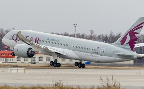 Picture The plane, Liner, 787, Boeing, Dreamliner, The rise, WFP, Boeing 787, Qatar Airways, Chassis, A …