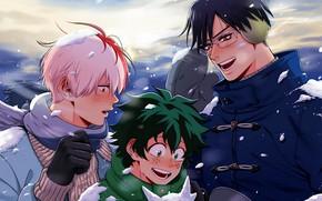 Picture winter, guys, My Hero Academia, Boku No Hero Academy, Midori Isuku, Todoroki Shoto, My Hero …