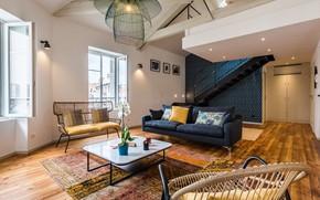 Picture design, interior, living room, apartment in Biarritz center