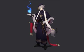 Picture fire, magic, hat, fantasy, cane, guy, blue fire