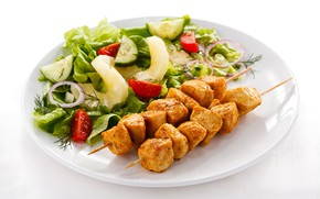 Picture tomatoes, kebabs, salad, greens, meat, cucumber