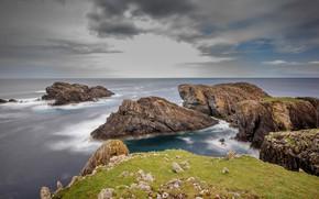 Picture sea, the sky, clouds, landscape, nature, stones, overcast, rocks, shore, Scotland, horizon