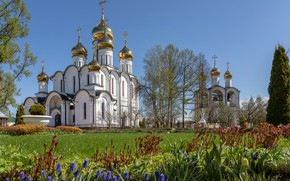 Picture flowers, temple, Russia, dome, the bell tower, St. Nicholas Cathedral, Pereslavl-Zalesskiy, Елена Гусева, Свято-Никольский монастырь