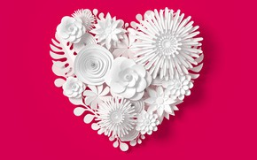 Picture flowers, rendering, pattern, heart, love, white, heart, flowers, composition, rendering, paper, composition, floral