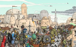 Picture The city, Star Wars, Heroes, City, Fantasy, Art, Art, Fiction, Scene, Spaceship, Spaceship, Characters, Action, …