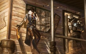 Wallpaper girl, robot, hat, the gun, shootout, ashe, bob, overwatch, elizabeth caledonia