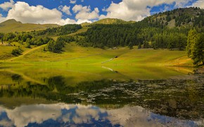 Picture forest, summer, clouds, lake, reflection, shore, house, pond