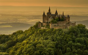 Picture forest, summer, trees, mountains, fog, castle, hills, view, height, dal, Germany, slope, horizon, hill, tower, …