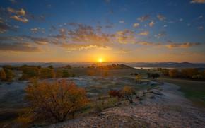 Picture autumn, landscape, sunset