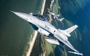 Picture Sea, F-16, The MiG-29, Pilot, F-16 Fighting Falcon, Cockpit, Polish air force, ILS, PTB, AIM-120 …