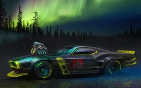 Picture Auto, Night, Figure, Machine, Northern lights, Car, Lights, Art, Night, Muscle car, Polar lights, Alexander …