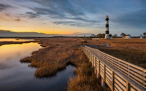 Picture USA, grass, sky, trees, landscape, nature, sunset, water, clouds, plants, lighthouse, North Carolina, wooden bridges, …