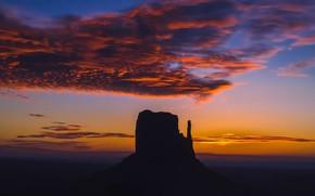 Picture rock, mountain, silhouette, AZ, USA, Monument Valley