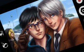 Picture photo, anime, art, guys, screen, selfie, Yuri on Ice, Yuri on the ice, victor nikiforov, …