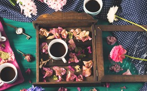 Picture flowers, box, coffee, petals, pendant