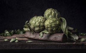 Picture the dark background, Board, still life, vegetables, artichokes