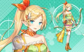 Picture girl, blonde, green background, Bullet Girls Phantasia