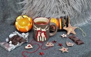 Picture tea, orange, chocolate, decor