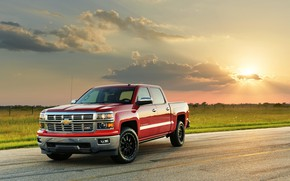Picture road, field, car, machine, the sky, clouds, sunset, Chevrolet, red, pickup, red car, wheel, Hennessey, …