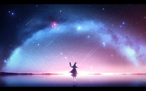 Picture ice, night, fantasy, girl, witch