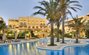 Picture palm trees, pool, the hotel, Malta, Valletta, Kempinski Hotel San Lawrenz