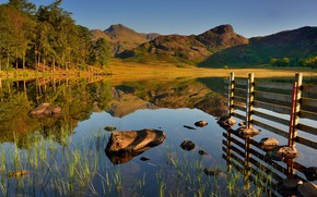 Picture the sky, landscape, mountains, nature, lake, stones, beauty, the bridge