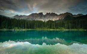 Picture forest, mountains, nature, lake, reflection, Agnеs Perrodon