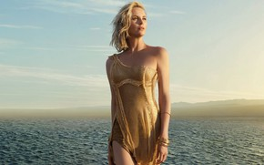 Picture Charlize Theron, Sea, Dress, Charlize Theron