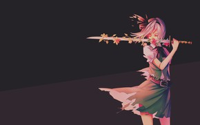 Picture girl, background, sword, anime