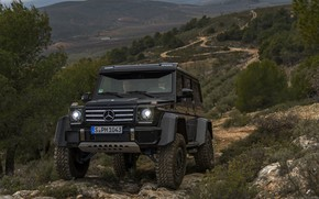 Picture black, hills, vegetation, Mercedes-Benz, SUV, 4x4, G500, G-Class, 2015, G 500, 4x4², V8 biturbo