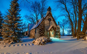 Picture winter, snow, Church, chapel
