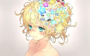 Picture face, hairstyle, girl, bows, blue eyes, grey background, shoulders, stars, hair ornaments, cute, bangs, by …