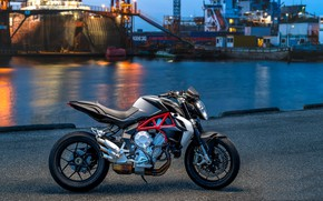 Wallpaper port, the city, motorcycle, MV Augusta brutale 800