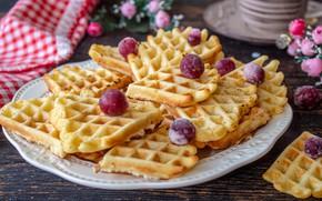 Picture cherry, dessert, waffles