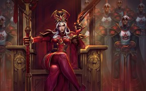 Wallpaper girl, sword, World of Warcraft, fantasy, game, Warcraft, soldiers, armor, crown, red eyes, weapons, queen, ...