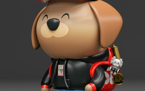 Picture toy, cap, backpack, dog, ChocoToy