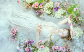 Picture water, girl, flowers, pose, mood, hands, Asian