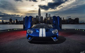 Picture city, the city, Ford, the evening, door, supercar, Ford GT, front view, by tikistudios