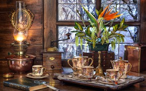 Picture flower, branches, lamp, window, mill, dishes, book, magnifier, napkin, set