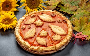 Picture autumn, leaves, sunflowers, pie, cakes