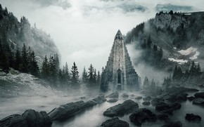 Picture forest, clouds, mountains, fog, castle, rocks, Gothic, shore, tower, morning, ate, pyramid, couples, Church, Cathedral, …